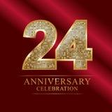 Rocznicowy świętowanie logotyp 24th rocznicowy logo dyskotek liczby royalty ilustracja