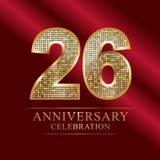 Rocznicowy świętowanie logotyp 26th rocznicowy logo dyskotek liczby Fotografia Stock