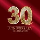 Rocznicowy świętowanie logotyp 30th Rocznicowy logo dyskotek liczby Zdjęcie Royalty Free