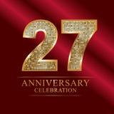 Rocznicowy świętowanie logotyp 27th rocznicowy logo dyskotek liczby Obraz Stock