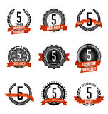 Rocznicowych rocznik odznak rok 5th Świętować Zdjęcia Stock