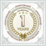 Rocznicy karta 1 rok z złocistym laurowym wiankiem Zdjęcia Stock