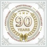 Rocznicy karta 90 rok z złocistym laurowym wiankiem Zdjęcie Royalty Free