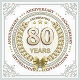 Rocznicy karta 80 rok z złocistym laurowym wiankiem Zdjęcia Stock