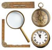 Roczników akcesoria ustawiający Zegar, powiększa - szkło zdjęcie stock