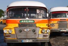 Roczników autobusy Valletta Malta Fotografia Stock