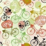 Roczników bicykle, bezszwowy wzór, pastelu zielony brown beż barwią royalty ilustracja