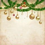 Roczników boże narodzenia dekorują przeciw staremu papierowemu tekstury tłu royalty ilustracja
