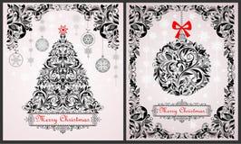 Roczników bożych narodzeń czarny i biały kartka z pozdrowieniami z kwiecistym xmas drzewem, wiszącą piłką i ozdobną dekoracją, ilustracji