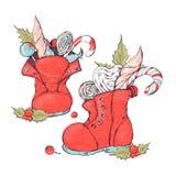 Roczników bożych narodzeń dekoraci czerwone gwiazdy, cukierki i antykwarscy dziecko buty nad śnieżnym tłem, obrazuje retro styl Obraz Royalty Free