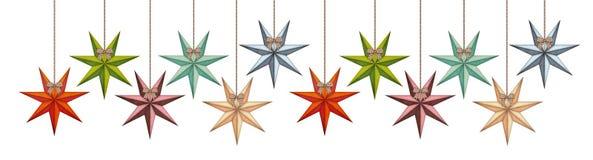 Roczników bożych narodzeń gwiazdy w super długim rzędzie odizolowywającym na bielu Obraz Royalty Free