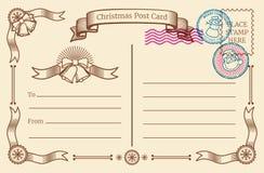 Roczników bożych narodzeń pusta pocztówka z tekst przestrzenią i xmas pocztowymi znaczkami rabatowy bobek opuszczać dębowego fabo royalty ilustracja