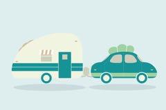 Roczników campingowi samochody dla wszystkie rodziny. Samochód z przyczepy illustrati Fotografia Royalty Free