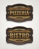 Roczników drewniani znaki dla pizzeria i bistr ilustracji