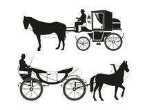 Roczników frachty z koniami Wektorowi obrazki retro bajka transport ilustracja wektor