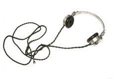 Roczników hełmofonów słuchawki Retro na Białym tle z kablem obrazy stock