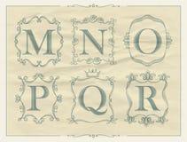 Roczników kaligraficzni listy w monogram retro ramach, abecadło logowie Zdjęcie Royalty Free