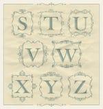 Roczników kaligraficzni listy w monogram retro ramach, abecadło logowie Fotografia Royalty Free