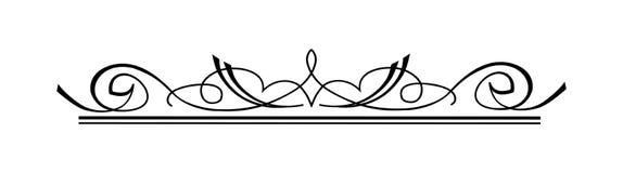 Roczników Kaligraficzni zawijasy - Kwiecista Łozinowa różyczka, Dekoracyjna winieta w wektorze royalty ilustracja