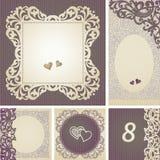 Roczników kartka z pozdrowieniami z zawijasami i kwiecistymi motywami w retro stylu. Fotografia Royalty Free