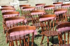 Roczników krzesła dla ślubnej ceremonii obraz royalty free