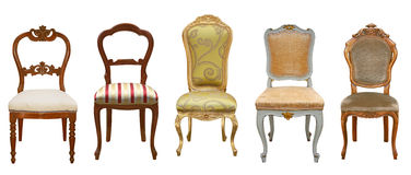 Roczników krzesła odizolowywający Fotografia Royalty Free