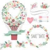 Roczników kwiatów gorącego powietrza balon royalty ilustracja