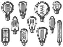 Roczników Lightbulbs Inkasowi ilustracja wektor