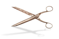 Roczników nożyce na bielu z cieniem. Fotografia Stock