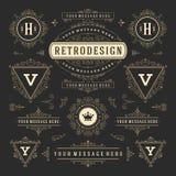 Roczników ornamentów dekoracj projekta Wektorowi elementy Rozkwita kaligraficznych kombinacj Retro logów ilustracja wektor