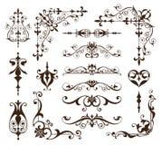 Roczników ornamentów projekta elementów kwiecistych curlicues tła krawężników biała rama osacza majcherów ilustracji