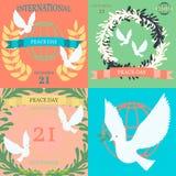 Roczników plakaty dla Międzynarodowego dnia pokój Fotografia Royalty Free