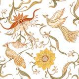 Roczników ptaków i kwiatów bezszwowy wzór, tło ilustracji