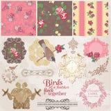 Roczników ptaki i kwiaty Zdjęcia Stock