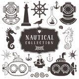 Roczników ręka rysujący elementy w nautycznym stylu niestabilność 2 royalty ilustracja