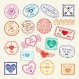 Roczników romantyczni pocztowi znaczki Wektorowi miłość elementy dla scrapbook lub listów projekta ilustracji