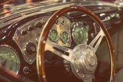Roczników samochodów deska rozdzielcza Zdjęcia Royalty Free
