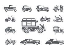 Roczników samochody. Ikony ustawiać Zdjęcie Stock