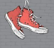 Roczników Sneakers ręka Rysująca royalty ilustracja