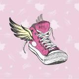 Roczników Sneakers z skrzydłami ilustracja wektor