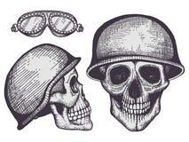 Roczników stylowych rowerzystów ludzkie czaszki odizolowywać na białym tle ilustracja wektor