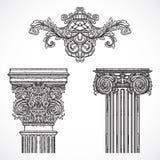 Roczników szczegółów projekta architektoniczni elementy Antykwarska barokowa klasyka stylu kolumna i kartusz royalty ilustracja