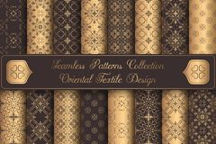 Roczników tło luksusowych bezszwowych wzorów projekta złoci elementy ilustracja wektor