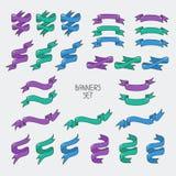 Roczników tasiemkowi sztandary, ręka rysujący set dla projekta Zdjęcia Stock
