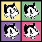 Roczników toons cztery wizerunku retro postać z kreskówki smiley woolf na kolorowym tle Zdjęcia Royalty Free