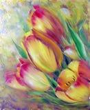 Roczników tulipanów żółty czerwony obraz olejny royalty ilustracja