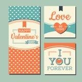 Roczników valentines dnia Szczęśliwe karty Obraz Royalty Free