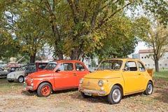 Roczników włoscy samochody Fiat 500 Zdjęcia Stock