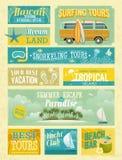 Roczników wakacje letni i plażowe reklamy.