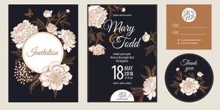 Roczników zaproszeń i powitania karta z kwiat peoniami ustawiać ilustracja wektor